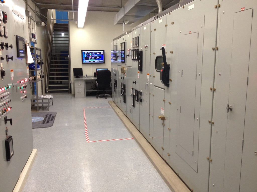 Turbine governor controls, protective relaying, and unit circuit breakers are some of the many items that are housed within the switch gear throughout the plants control room.